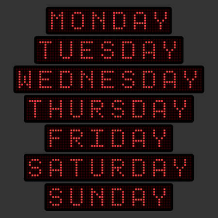 set of names of days of the week in the form of an electronic tableau in a red glow. Vector illustration.
