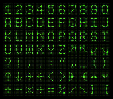 Latin letters, numbers, punctuation and spelling marks in the form of an electronic tableau in a green glow.