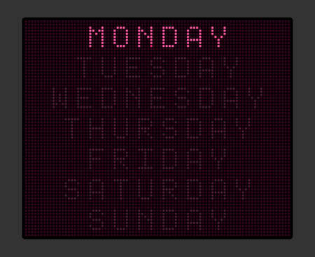Electronic tableau with names of days of the week, purple illumination. Vector illustration