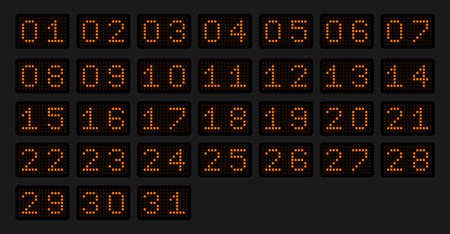 Numbers from 1 to 31 for a calendar or sports event in the form of an electronic scoreboard in a orange glow. Vector illustration.