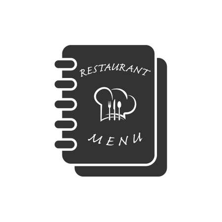 Simple vector icon of the restaurant menu book. Flat style