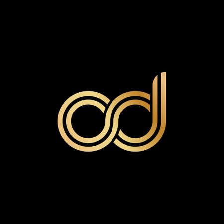 Lowercase letters o and d. Flat bound design in a Golden hue for a logo, brand, or logo. Vector illustration