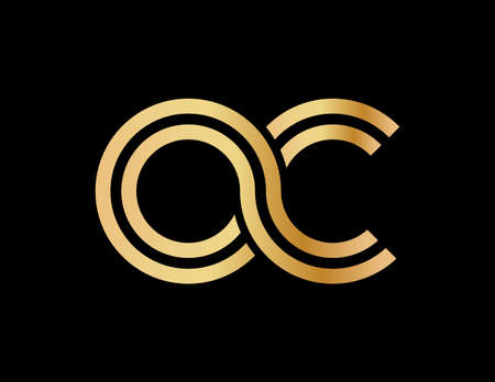 Lowercase letters o and c. Flat bound design in a Golden hue for a logo, brand, or logo. Vector illustration