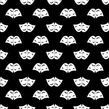 Seamless pattern with theatrical masks for simple backgrounds, textures, and packaging. Vector illustration.