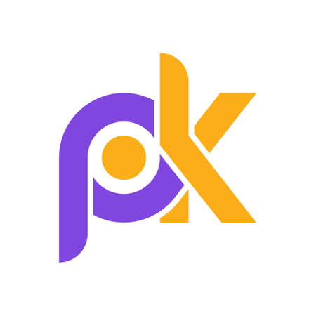 Stylized lowercase letters P and K are linked by a single line for a logo, monogram, or monogram. Vector illustration isolated on a white background. Ilustrace