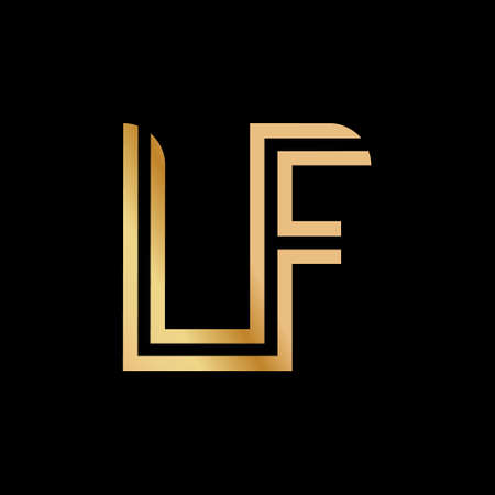 Uppercase letters L and F. Flat bound design in a Golden hue for a logo, brand, or logo. Vector illustration Stock Illustratie