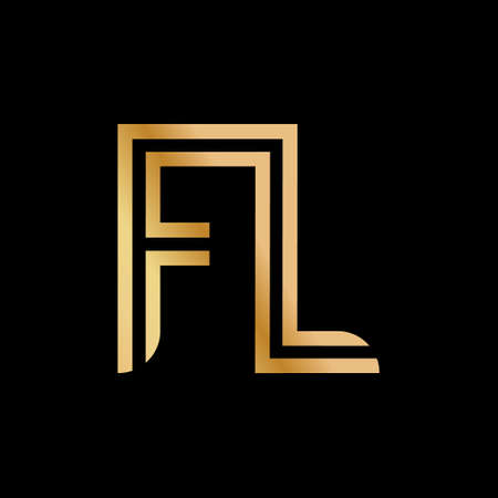 Uppercase letters F and L. Flat bound design in a Golden hue for a logo, brand, or logo. Vector illustration