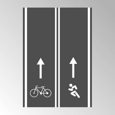 Paved track for running and Cycling with direction signs, flat style.