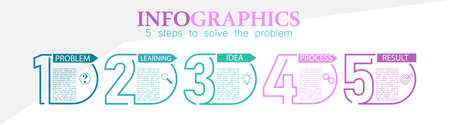 Infographic, 5 steps of problem solving for business, Finance and marketing. Flat design