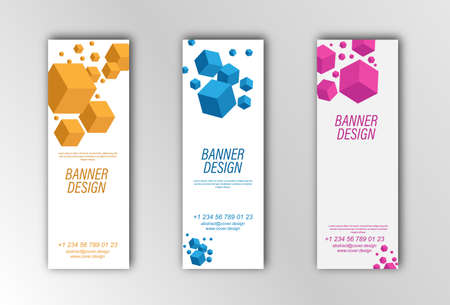 Abstract vector banner template. Illustration for the design of banners, posters, cards and visual content. Flat design Stock Illustratie