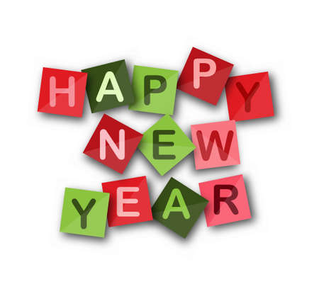 HAPPY NEW YEAR on Colored square sheets. Vector banner for website, application or presentation Çizim