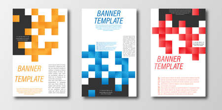 Abstract design template for a banner, poster, or flyer. Flat vector style Çizim