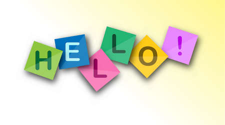 Hello. Welcome speech on colored square sheets. Vector banner for a website, app, or presentation