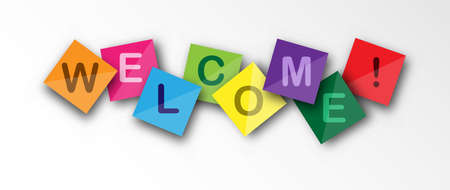 Welcome speech on colored square sheets. Vector banner for a website, app, or presentation Çizim