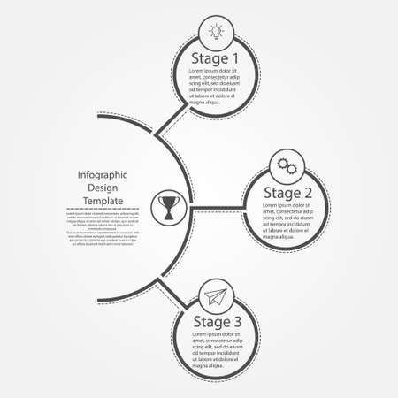 Infographic design template. Three steps to business success, training or promotion. Flat design.