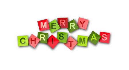 HAPPY CHRISTMAS on Colored square sheets. Vector banner for a website, app, or presentation
