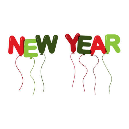 NEW YEAR. Balloons in the form of letters.Flat design