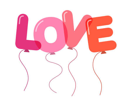 LOVE. Balloons in the form of letters. Flat design Çizim