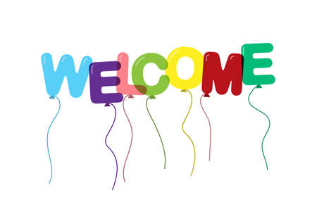 Welcome. Balloons in the form of letters. Flat design