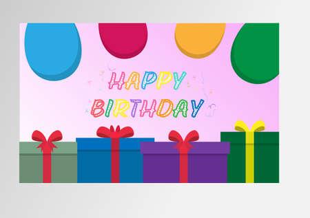 Color greeting vector illustration happy BIRTHDAY. Simple design. Çizim