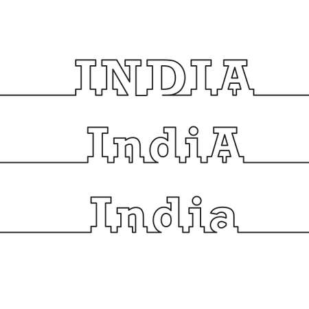 INDIA. The name of the country is drawn using polygonal lines. Çizim