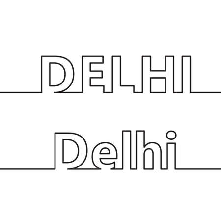 DELHI. The name of the capital of the state of India is drawn with contour lines. Flat style.