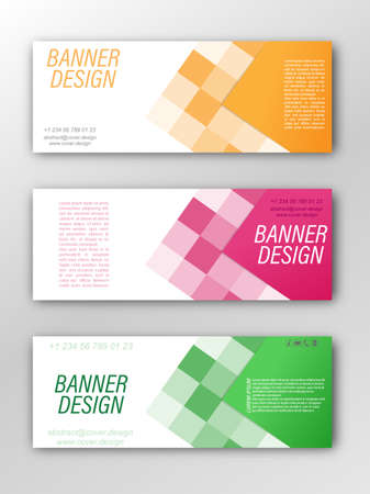 Abstract vector banner template. Illustration for the design of banners, posters, cards and visual content. Flat design Çizim