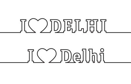 I LOVE DELHI. The name of the capital of the state of India is drawn with contour lines. Flat style.