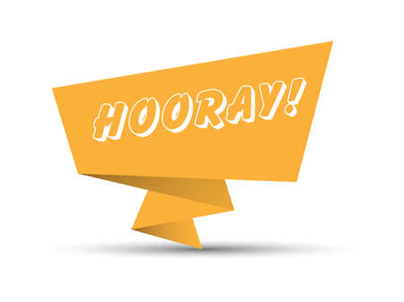 Orange banner with the word HOORAY. Simple stock vector illustration