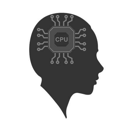 Vector icon of a woman's head with a Chip. The silhouette is isolated on a white background. Simple design