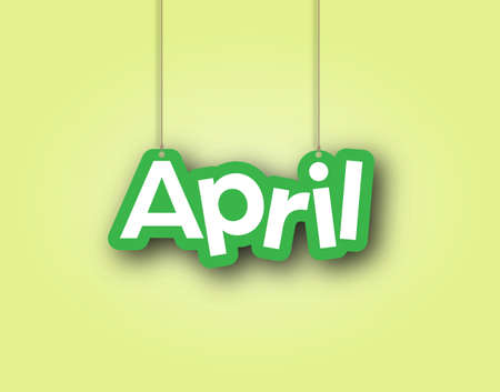 APRIL. A sign with the name of the month of the year hangs on the ropes. Vector illustration for decorations. Simple style.