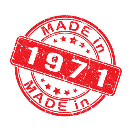 Imprint of a seal or stamp with the inscription MADE IN 1971. Label, sticker or trademark. Editable vector illustration. Flat style.