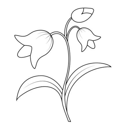Empty outline of a flower with petals. Doodle style outline isolated on white background. Flat design for coloring, cards, scrapbooking and decoration.