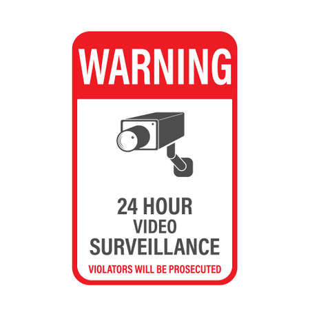 WARNING 24 hours video surveillance. Vector video surveillance sign with the inscription. Empty outline, flat style.
