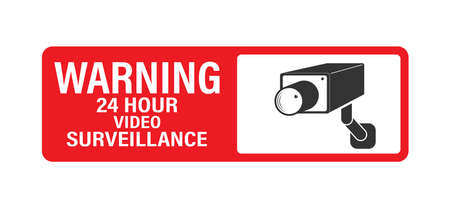 WARNING 24 hours video surveillance. Vector video surveillance sign with the inscription flat style.