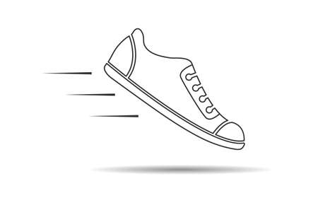 Shoe icon, thin line, empty outline isolated on white background, flat modern design. Stock illustration