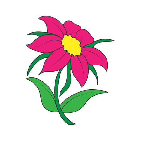 Empty colored outline of a flower with petals. Doodle style outline isolated on white background. Flat design for coloring, cards, scrapbooking and decoration.