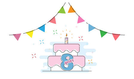 8 years. Cake with a candle and colored flags for congratulations on a birthday, holiday, wedding or anniversary. Flat style. Ilustração