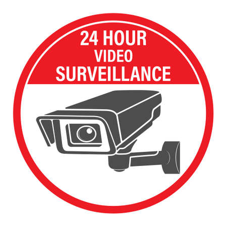 24 hours video surveillance. Vector video surveillance sign with the inscription. Empty outline, flat style.