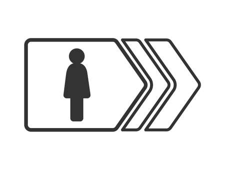 Signpost with a woman's silhouette isolated on a white background, simple flat design Ilustração