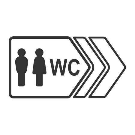 Signpost with a silhouette of a man and a woman and the inscription WC, isolated on a white background, simple flat design Ilustração