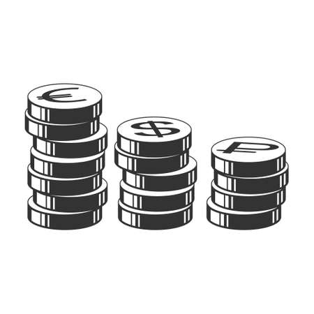 Vector illustration. Stack of coins with currency symbols isolated on a white background, simple flat design