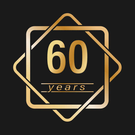 60 years. Stylized gold lettering for congratulations. Flat style