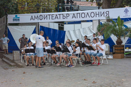 Bulgaria, Sozopol - 2018, 30 August: Children's brass band in the Apollonia Amphitheater. Stock photo.