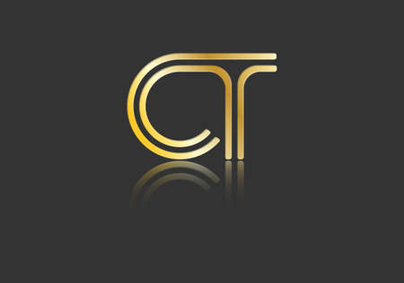 Gold stylized lowercase letters C and T with reflection connected by a single line for logo, monogram and creative design. Vector illustration isolated on black.