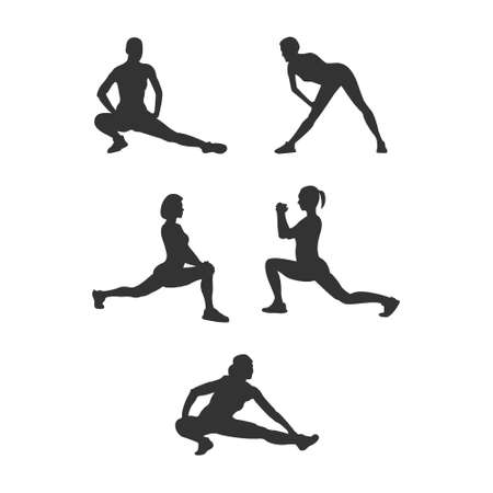 Set of silhouette athletes. Flat vector icon isolated on a white background. Simple style Stock Illustratie