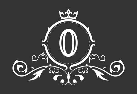 Stylized number 0. Ornament and crown monogram template for business cards, logos, emblems and heraldry designs. Vector illustration