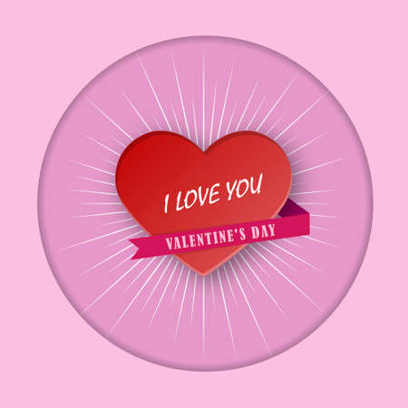 Declaration of love for Valentine's Day. Heart with an inscription and a ribbon. Vector illustration