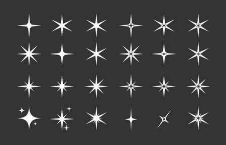 Stars. A set of editable icons. The radiance of stars or fireworks. Vector icon on a black background. Flat design. Vecteurs