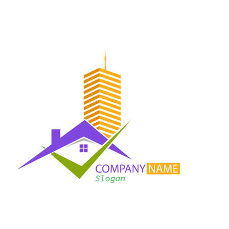 Vector logo template for construction company, company, repair business, sale, purchase of rental and rental housing and office space. Illustration isolated on a white background
